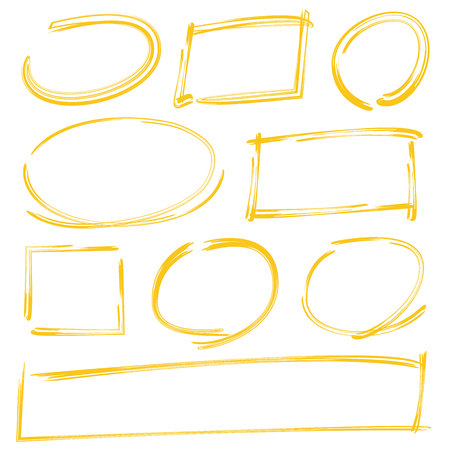 rectangle: grunge yellow circle markers, rectangle markers