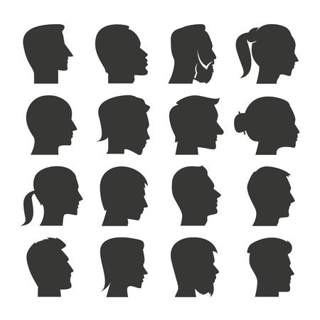 the human face: human face icons, people icons Illustration