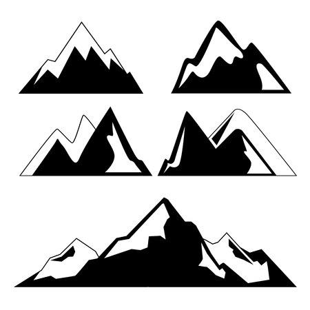 winter range: mountains icons Illustration