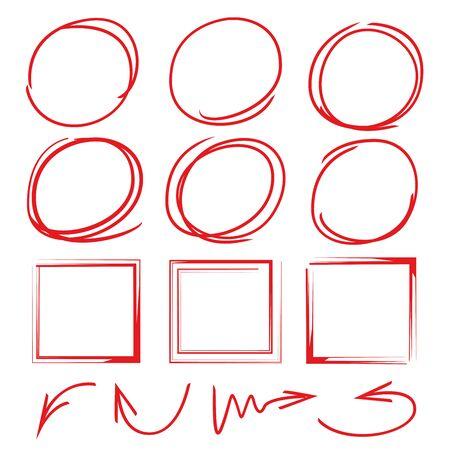 rectangle frame: grunge circle brush, rectangle frame, arrows