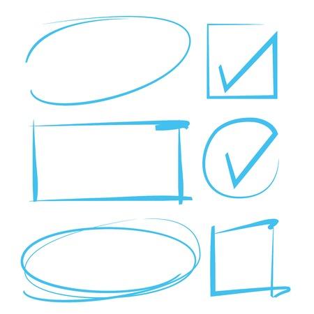 arrow circles: vector hand drawn design elements, check mark Illustration