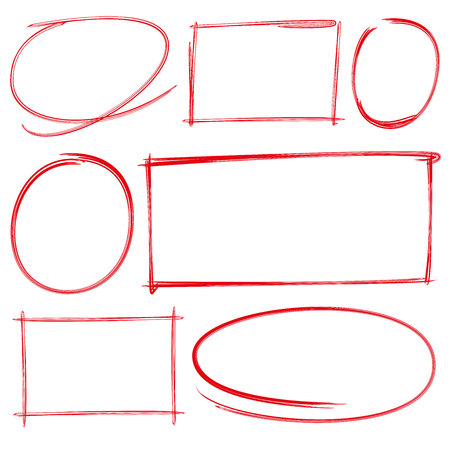 rectangle: hand drawn blank circle and rectangle Illustration