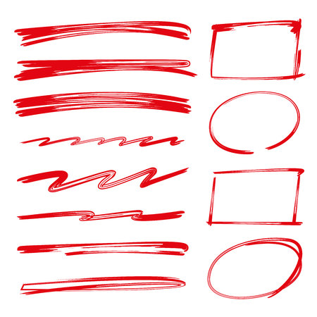 brush lines, brush line and circle rectangle marker for highlight text Stock Illustratie