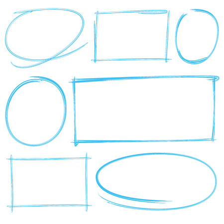 rectangle: hand drawn elements, circle and rectangle frames