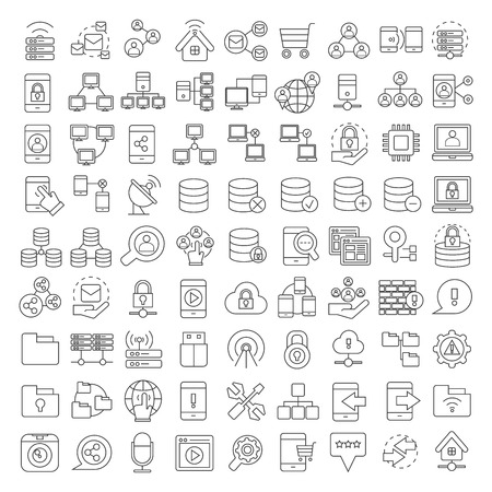 computer network diagram: database icons, network and communication icons Illustration