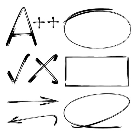 marks: highlighter elements, arrows, check marks