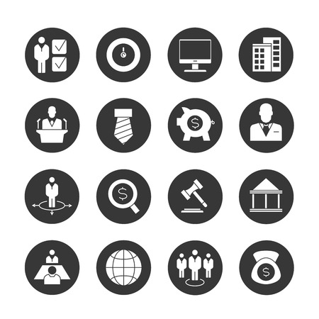 business meeting computer: business management icons, banking icons Illustration