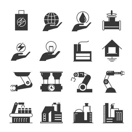 food industry: manufacturing icons, factory, robot icons