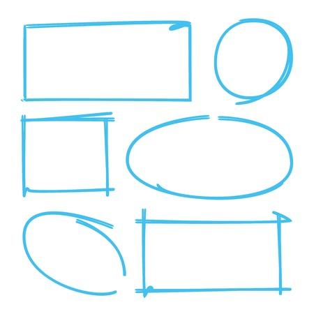 marker: conjunto de dibujos marcador, marcador rectángulo, círculo marcador