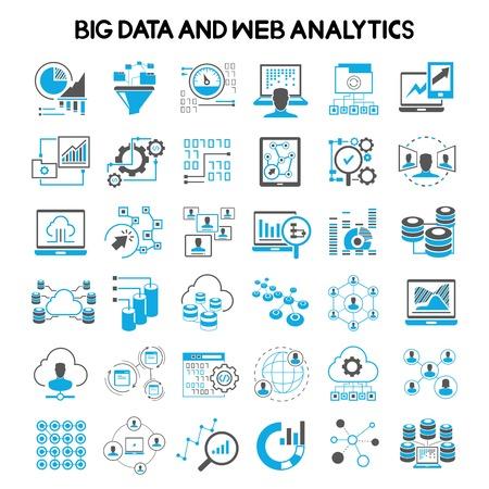 netwerk, big data iconen, web analytics iconen, data analytics pictogrammen