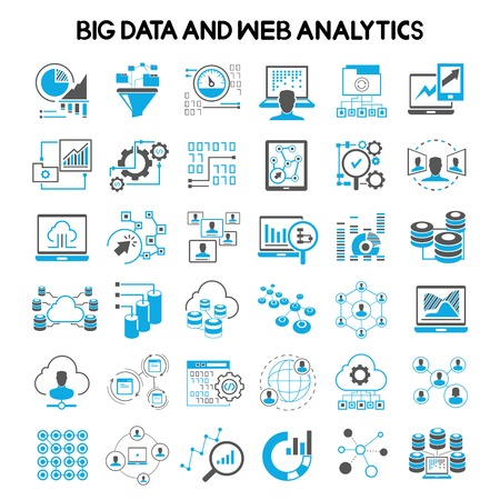 netwerk, big data iconen, web analytics iconen, data analytics pictogrammen