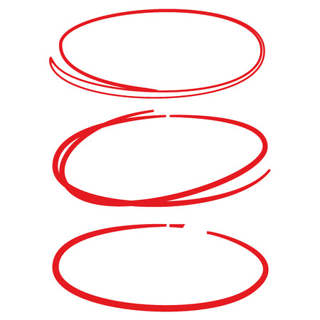 red hand drawn circle highlighter set