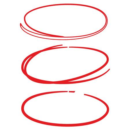 marker: mano roja círculo dibujado conjunto de rotulador Vectores