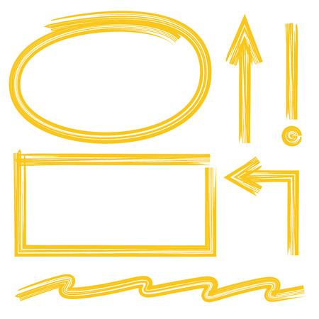 emphasis: yellow marker drawing set Illustration