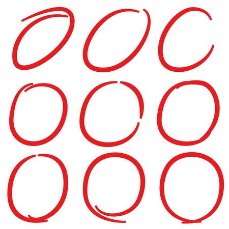 red hand drawn circle highlighter set