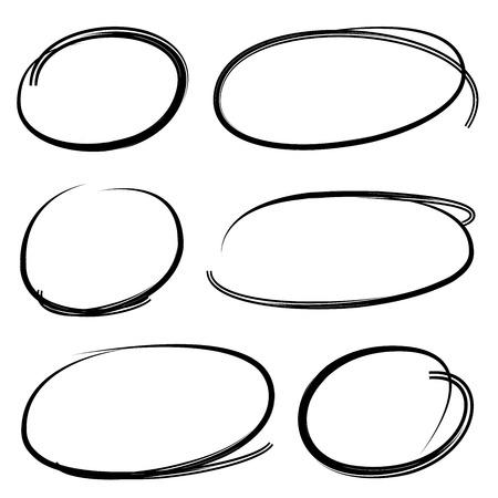 circle shape: markers circle shape, black pen circles Illustration