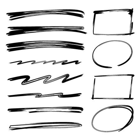 collection of underlines, brush lines