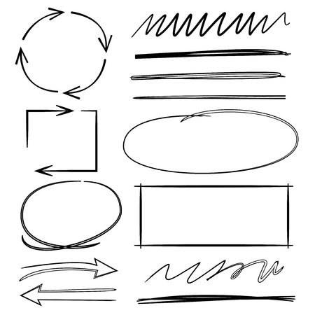 arrows circle: arrows check marks underlines and abstract circle markers