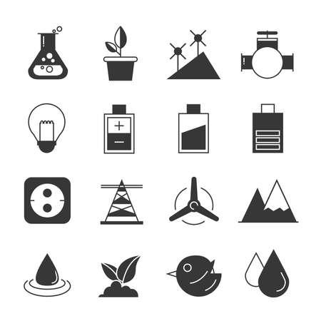 eco energy: eco and energy icons Illustration