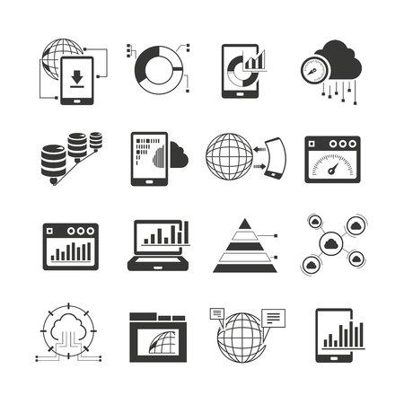 iconos de análisis de datos Ilustración de vector