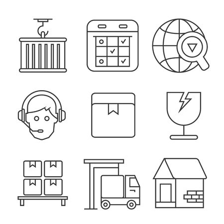 search box: shipping service icons Illustration