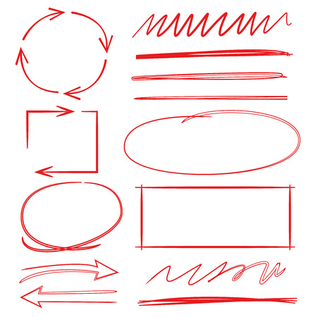 arrows, highlighter elements; red circle, rectangle, underline Illustration