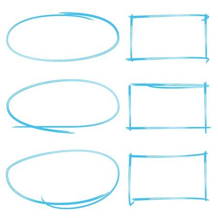 emphasis: marker drawing set, rectangle marker, circle marker Illustration