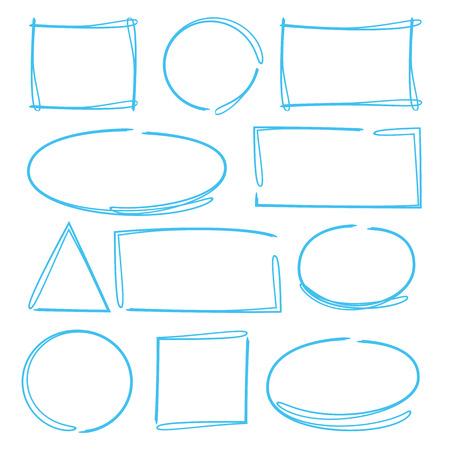 Elementi evidenziatori, cerchio e rettangolo evidenziatore Vettoriali