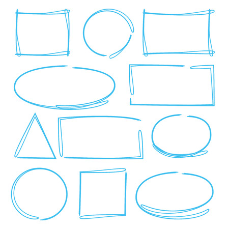 highlighter elements, circle and rectangle highlighter Ilustração Vetorial