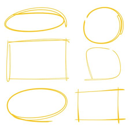 oval shape: hand drawn circle and rectangle marker set