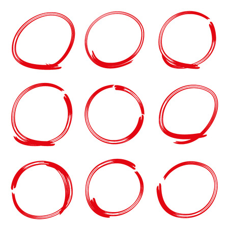 freehand: red hand drawn circle highlighter set