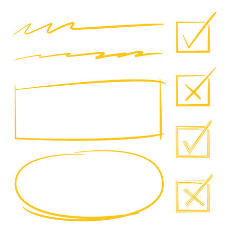 marking: check marks, circles, rectangles for marking text Illustration