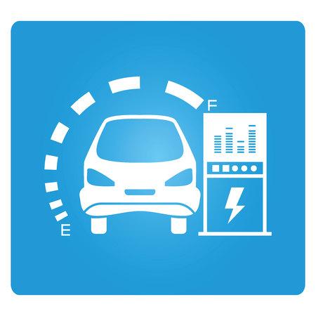 coche eléctrico y la central eléctrica Ilustración de vector