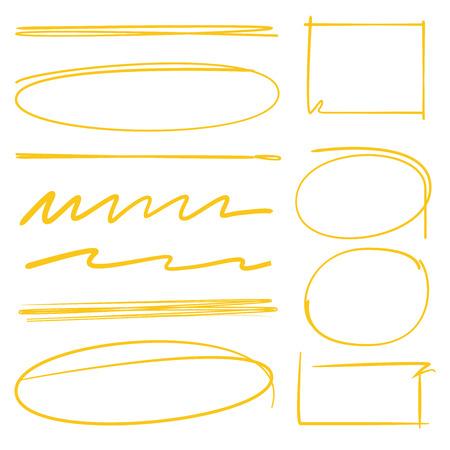 to underline: circle markers, rectangle frames, oval markers, underlines Illustration