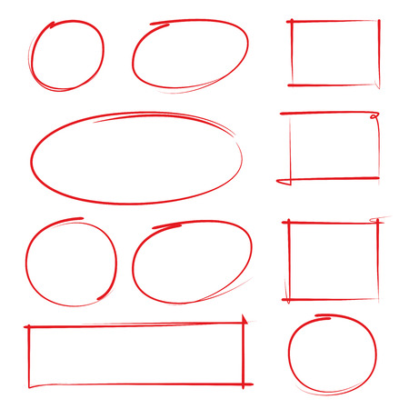 hand drawn blank circle and rectangle frames