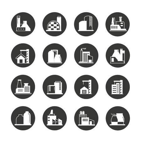 industrial building: Industrial building factory icons