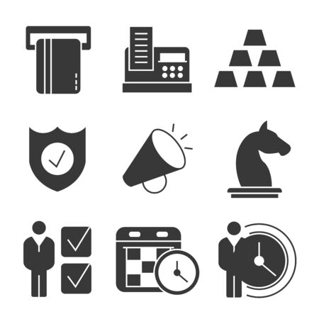 money button: business icons Illustration