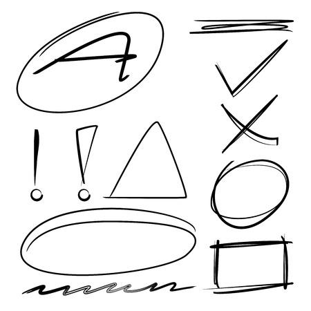highlight: Vector highlighter elements, imitation of hand drawn circles