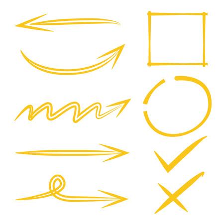 marks: arrows, circle mark, tick marks