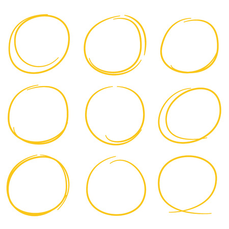 dub: yellow hand drawn circle highlighter set