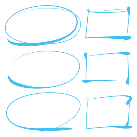 hand drawn circle and rectangle highlighter Vectores
