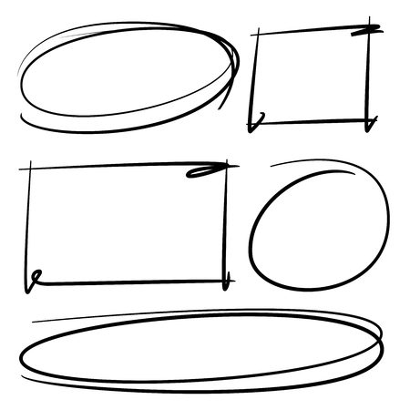 hand drawn circle rectangle markers
