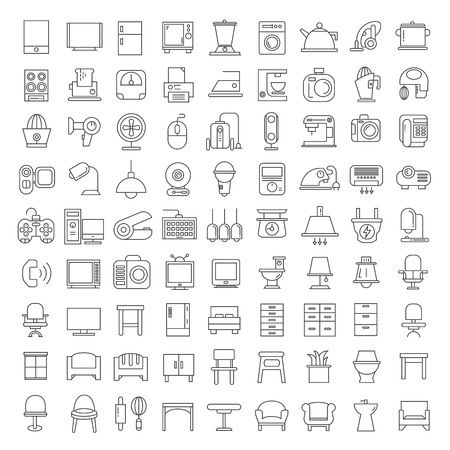 home appliances and furniture icons 일러스트