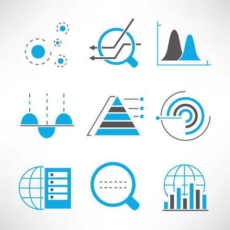systematic: data icons, graph, chart icons Illustration