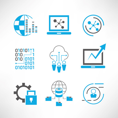 systematic: data analytics and network icons Illustration