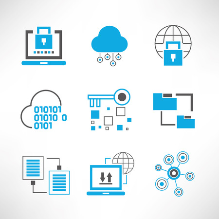 systematic: network security and data analytics icons Illustration