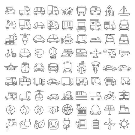 transportation icons Vectores