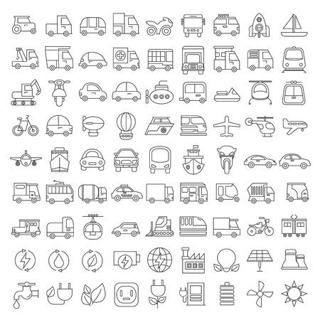 planos electricos: iconos de transporte Vectores