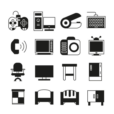 office supply: furniture and office supply icons