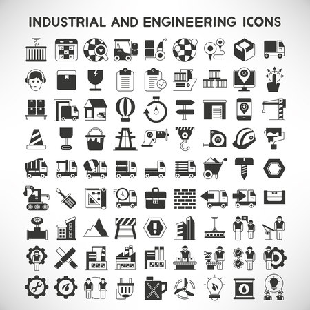 industrial and engineering icons Vector Illustration